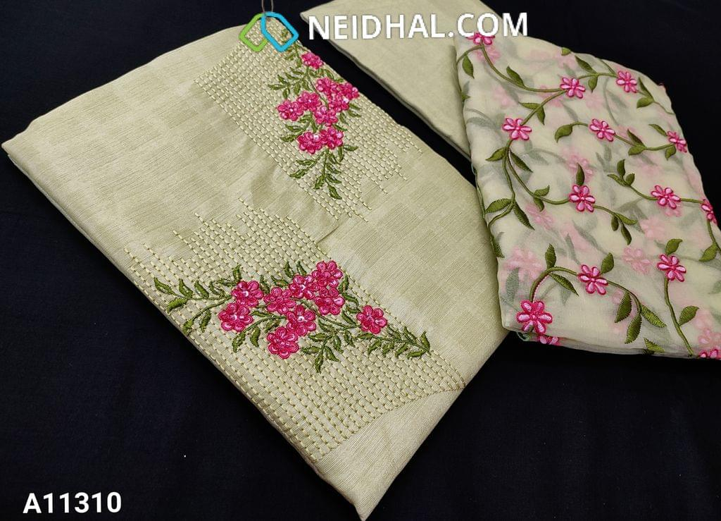 CODE A11310 : Designer Light Green Jaquard Semi Tussar unstitched salwar material(requires lining) with bead and sequence work on yoke, santoon bottom, floral embroidery work on organza dupatta with tapings.
