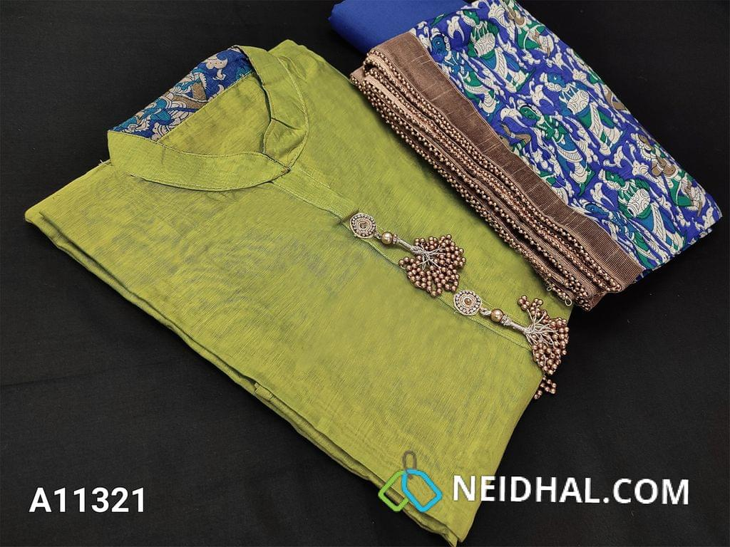 CODE A11321 : Premium Mehandhi Green Chanderi Silk Cotton unstitched salwar material(requires lining) with fancy buttons and tassels on yoke, blue cotton bottom, printed short width silk cotton dupatta with bead tapings.