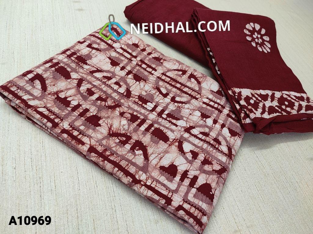 CODE A10969  :Batik Maroon Unstitched Salwar material with kantha stitch work, maroon cotton bottom, batik soft cotton dupatta(requires taping)