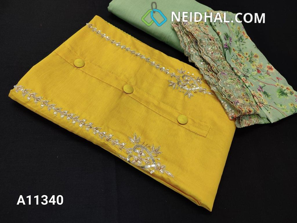 CODE A11340 : Designer Lemon Yellow Soft Silk cotton unstitched Salwar material(requires lining) with heavy zardosi and sequins work yoke, Stem stich work on sides, Pista Green drum dyed bottom, Digital printed short width dupatta with Heavy cut work, zari and sequins work along the sides