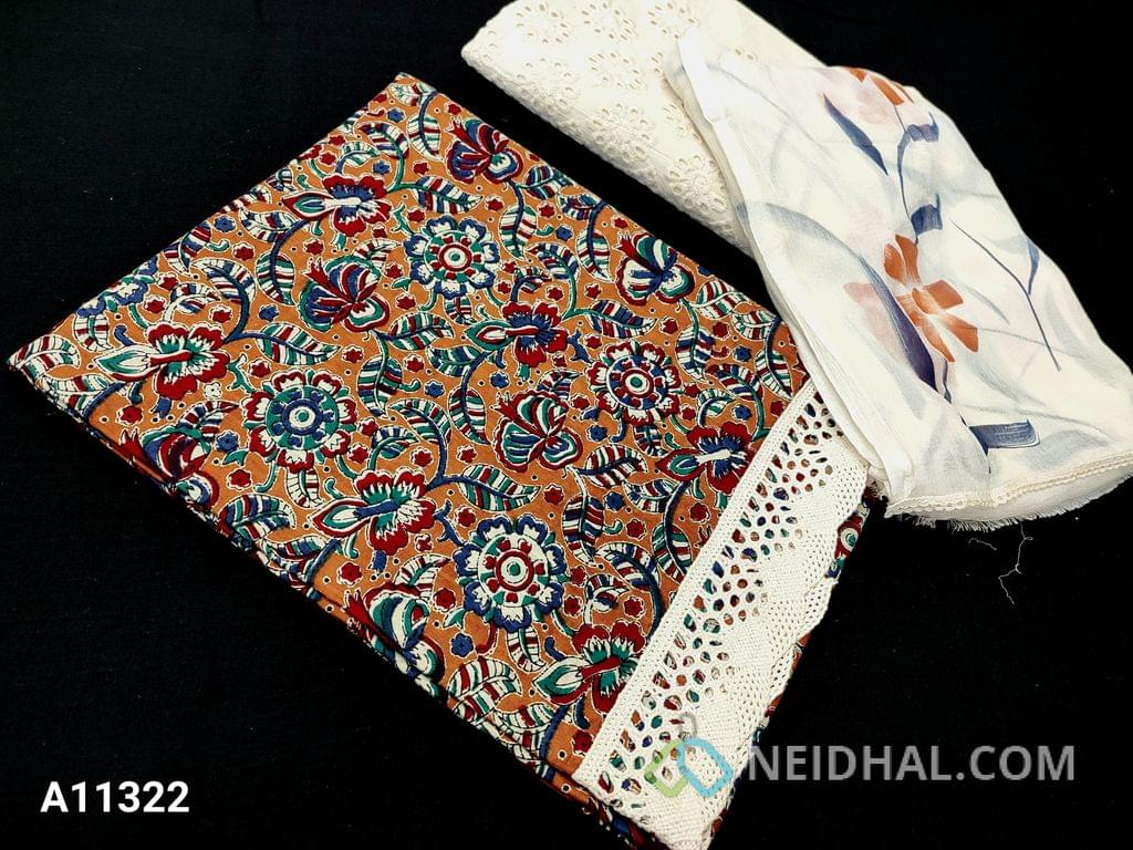 CODE A11322 : Kalamkari Printed Light Brown Cotton unstitched Salwar material(requires lining) lace cut work at daman, embroidery cut work on half white kadhi cotton bottom (cut work may vary), printed chiffon dupatta with lace tapings(prints may vary).