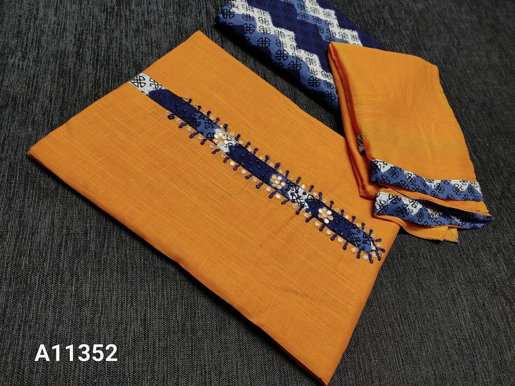 CODE A11352 :Yellow Slub Cotton unstitched Salwar material with Indigo Vegetable dye bagru patch work with French knot and foil mirror work, Indigo Vegetable dye bagru printed bottom, chiffon dupatta with taping