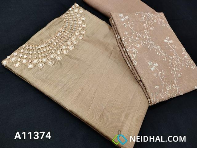 CODE A11374 : Designer Beige Glazed Silk Cotton unstitched salwar material(requires lining) with real mirror and thread work on yoke, santoon bottom, embroidery work on silk cotton dupatta with tassels