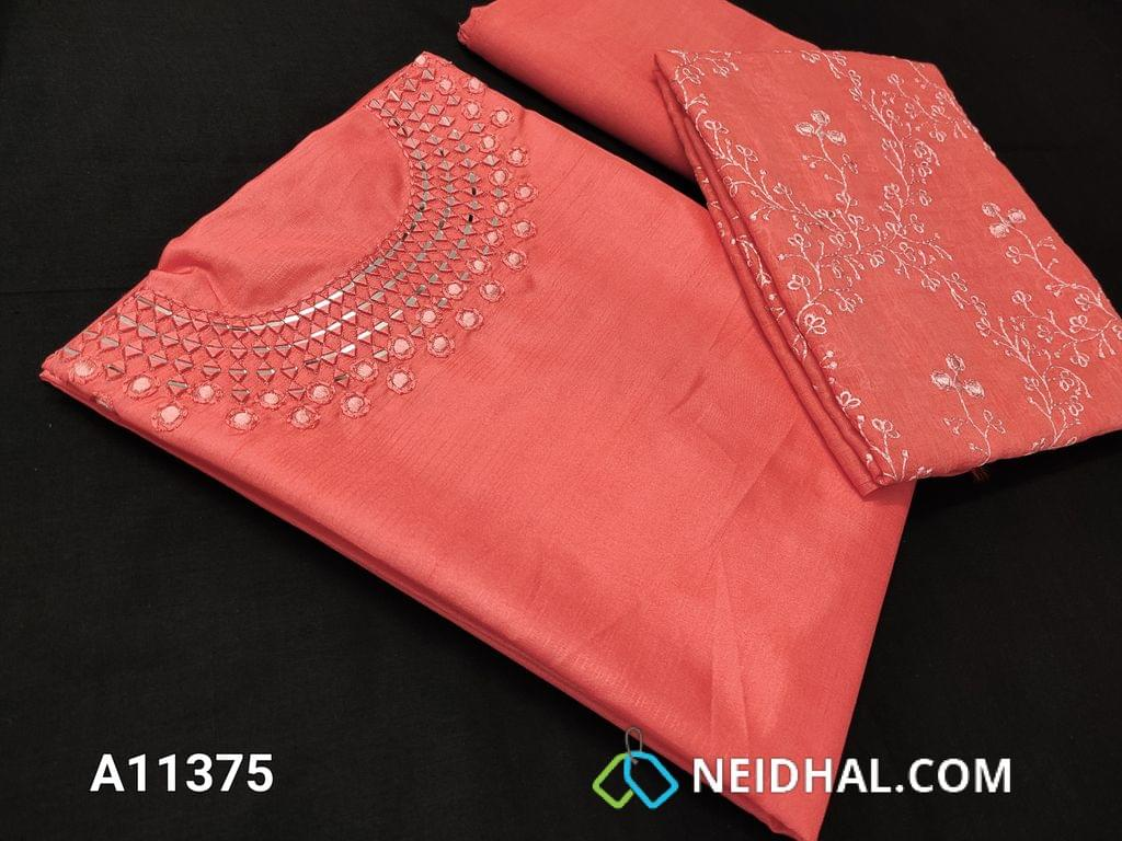 CODE A11375 : Designer Pink Glazed Silk Cotton unstitched salwar material(requires lining) with real mirror and thread work on yoke, santoon bottom, embroidery work on silk cotton dupatta with tassels