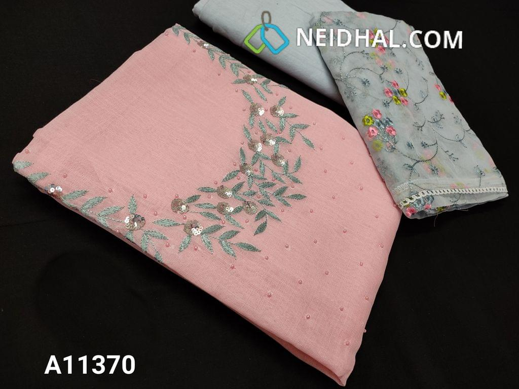 CODE A11370 : Designer Pink Linen Cotton unstitched salwar material(requires lining) with thread, bead and sequence work on yoke, light blueish grey cotton bottom, colorful embroidery organza dupatta with lace tapings.