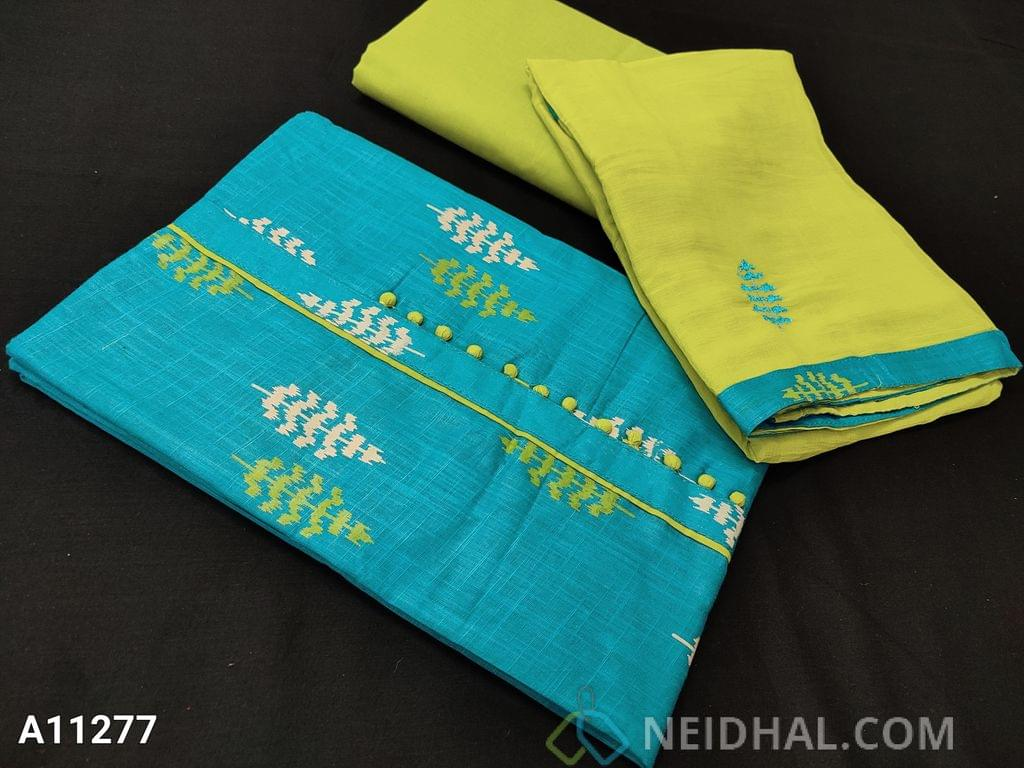 CODE  A11277: Printed Blue Slub Cotton Unstitched salwar material(requires lining) with potli buttons on yoke, Green cotton bottom, embroidery work on chiffon dupatta with tapings