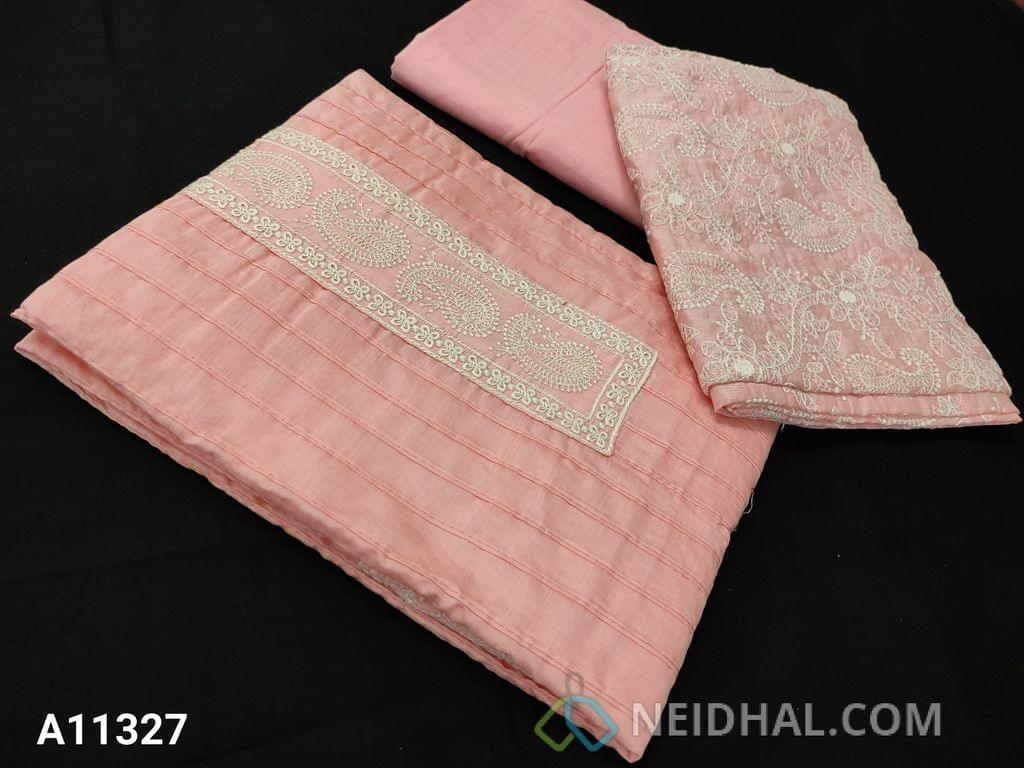 CODE A11327 : Designer pastel Pink Pintex Silk cotton  unstitched salwar material(requires lining) with embroidery work on yoke, Pastel pink soft cotton  bottom, Heavy embroidery silk Cotton Dupatta with tapings