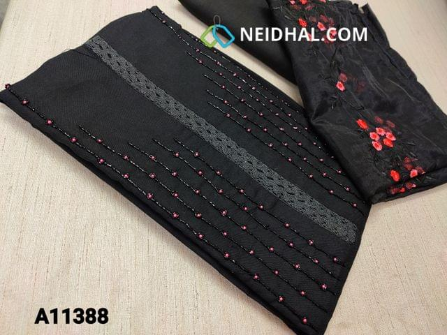 CODE A11388 : Designer Black Spun Silk Cotton unstitched salwar material(requires lining) with bead, pipe and lace work on yoke, black cotton bottom, embroidery organza dupatta with tapings.