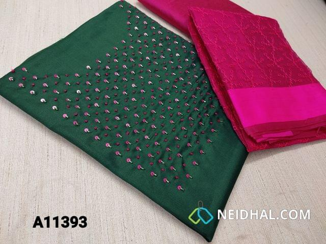 CODE A11393: Green Silk Cotton unstitched salwar material(requires lining) with french knot, sequence and pipe work on yoke, pink silk cotton bottom, embroidery work on organza dupatta with tassels