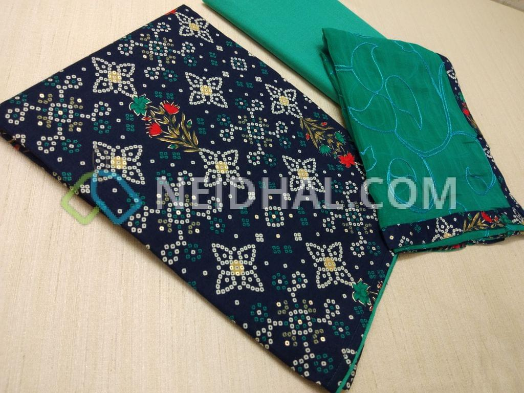 CODE R27 : Bhandini printed Blue cotton unstitched Salwar material, with golden prints, Turquoise Blue cotton bottom, Embroidery work on Turquoise blue chiffon dupatta with taping
