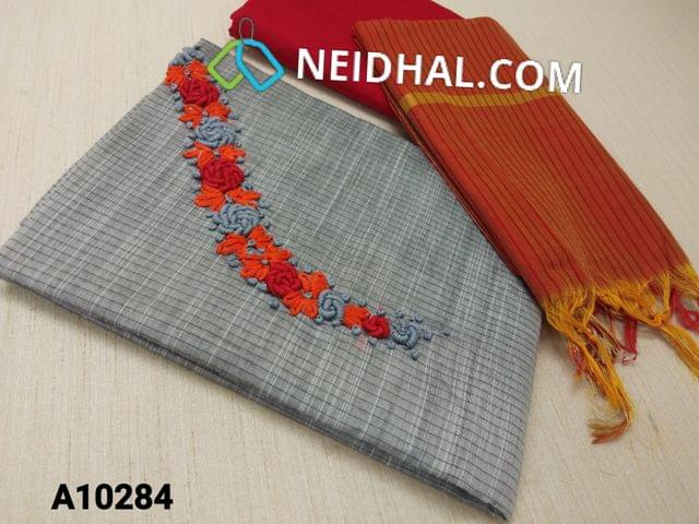 CODE A10284 : Grey Silk Cotton unstitched salwar material(requires lining) with thread and french knot work on yoke, red silk cotton bottom, red silk cotton dupatta with tassels.