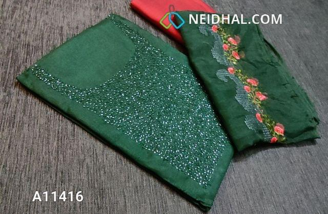 CODE A11416 : Designer Green Silk Cotton unstitched salwar material(requires lining) with heavy bead and thread work on yoke, maroon silk cotton bottom, embroidery work on organza dupatta with tapings