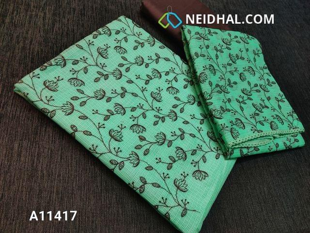 CODE A11417 : Premium Aqua Green Kota fabric unstitched salwar material(requires lining) with embroidery work on yoke, brown silk cotton bottom, embroidery work on kota fabric dupatta with tapings