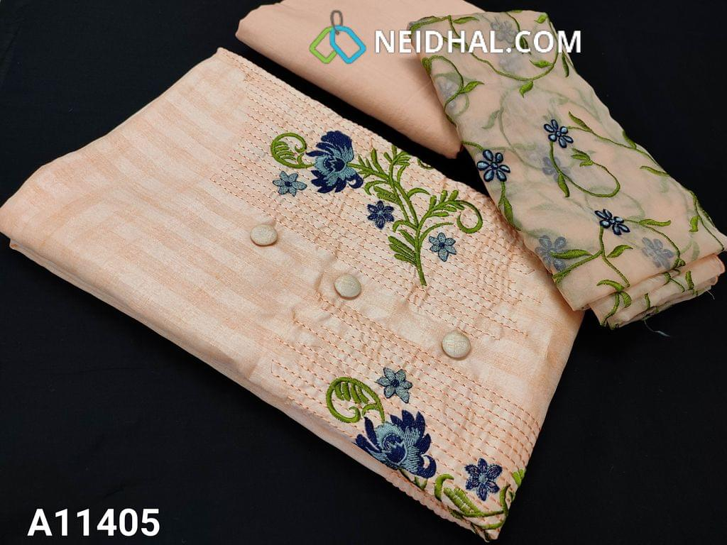 CODE A11405 : Premium Peach Jaquard Silk Cotton unstitched salwar material(requires lining) with embroidery work on yoke, drum dyed cotton bottom, floral embroidery work on organza dupatta.