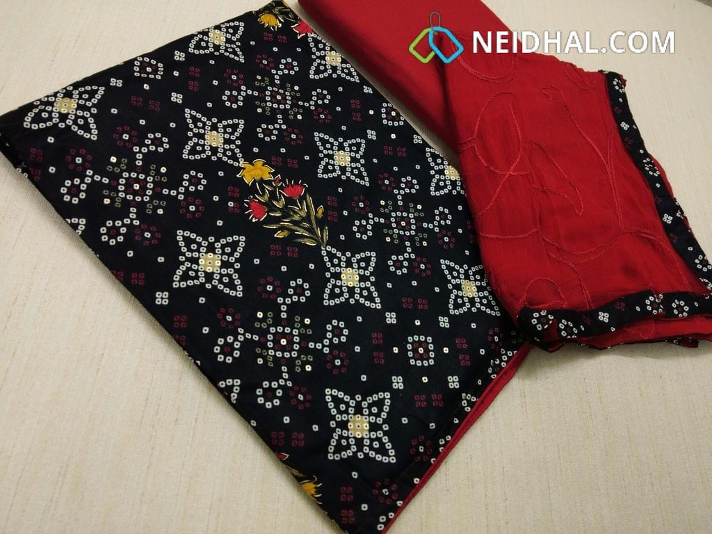 Bhandini printed Black cotton unstitched Salwar material, with golden prints, Red cotton bottom, Embroidery work on Red chiffon dupatta with taping