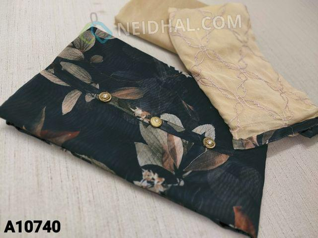 CODE A10740 :  Digital Floral Printed Black Silk Cotton unstitched salwar material(requires lining) with buttons on yoke, beige cotton bottom, embroidery work on beige chiffon dupatta with tapings