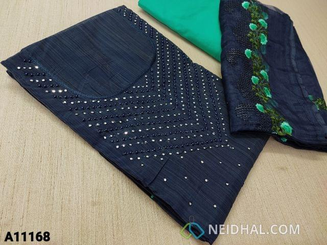 CODE  A11168 :  Designer Blue Silk Cotton Unstitched salwar material(requires lining) with faux mirror and bead work on yoke, turquoise green silk cotton bottom, embroidery work on organza dupatt with tapings