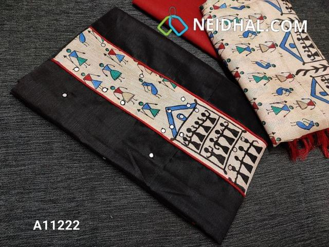 CODE A11222 : Black Silk Cotton unstitched Salwar material(requires lining) with warli printed art silk patch work on yoke, foil mirror work on front side, red cotton bottom, warli printed semi art silk dupatta with tassels