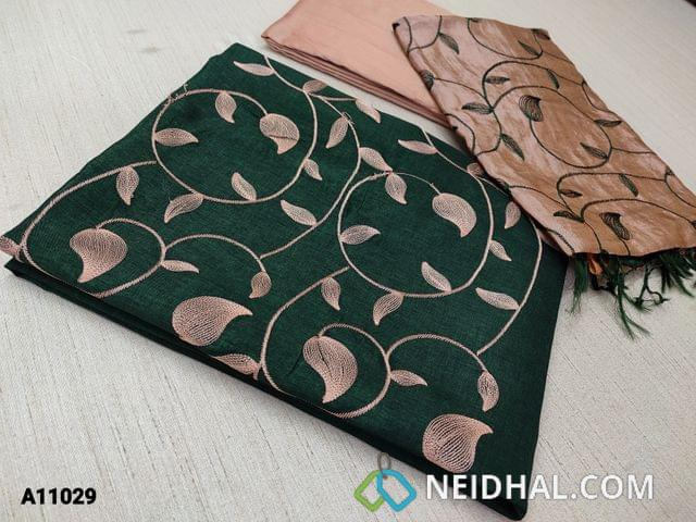 CODE A11029 : Dark Green Silk Cotton unstitched salwar material(requires lining) with embroidery work on yoke, onion pink silk cotton bottom, Dual color embroidery work on silk coton dupatta with tassels