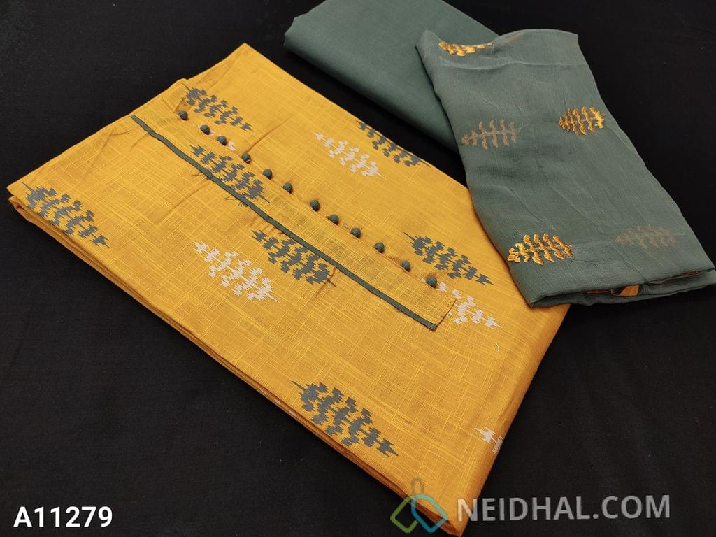 CODE  A11279: Printed Fenu Greek Yellow Slub Cotton Unstitched salwar material(requires lining) with potli buttons on yoke, Grey cotton bottom, embroidery work on chiffon dupatta with tapings