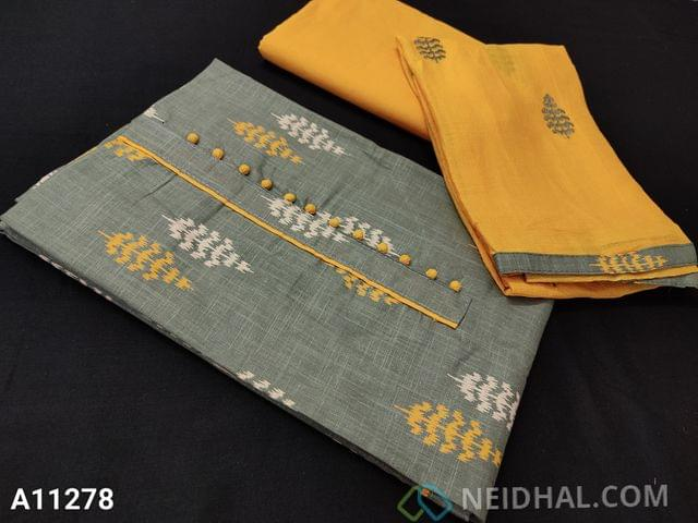CODE  A11278: Printed Grey Slub Cotton Unstitched salwar material(requires lining) with potli buttons on yoke, Yellow cotton bottom, embroidery work on chiffon dupatta with tapings