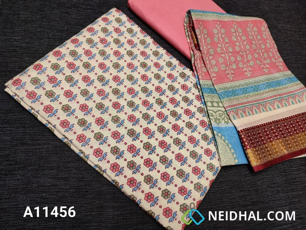 CODE A11456 :  Floral printed Half White Cotton unstitched salwar material(requires lining), light pink cotton bottom, floral printed soft mul cotton dupatta(requires taping)