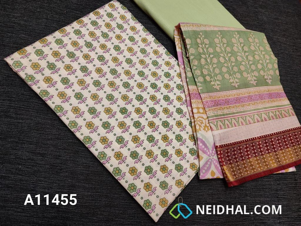 CODE A11455 :  Floral printed Half White Cotton unstitched salwar material(requires lining), light pista green cotton bottom, floral printed soft mul cotton dupatta(requires taping)