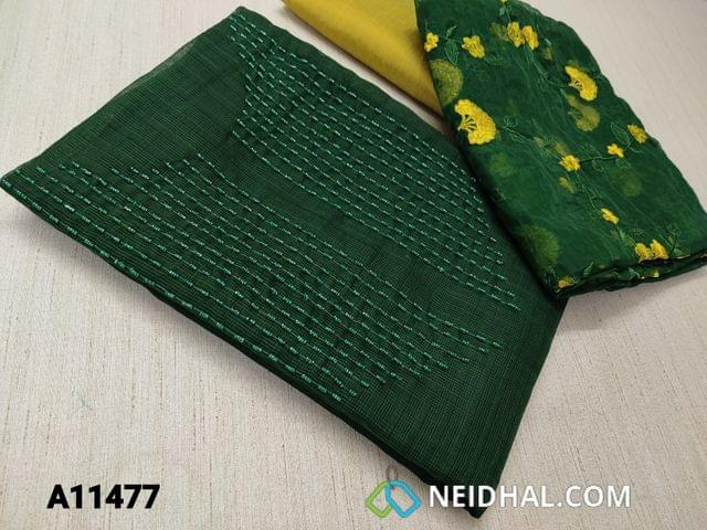 CODE A11477 : Designer Green Silk Cotton unstitched salwar material(requires lining)with heavy bead work on yoke, yellow silk cotton bottom, floral embroidery work on organza dupatta with tapings