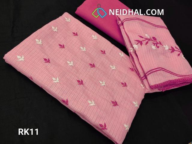 CODE RK11 : Light Pink  Fancy Kota Salwar material(net fabric requires lining) With heavy thread work on front side, Plain back, Pink Cotton Bottom, Fancy Kota with Embroidery work and lace taping on all sides