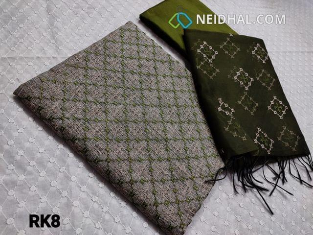 CODE RK8 : Light Grey Fancy Silk Cotton Kota fabric(netted coarse fabric, needs lining) with cross stitch work on yoke, Mossy Green Silk Cotton bottom, Mossy Green fancy Organza dupatta with beautiful thread work