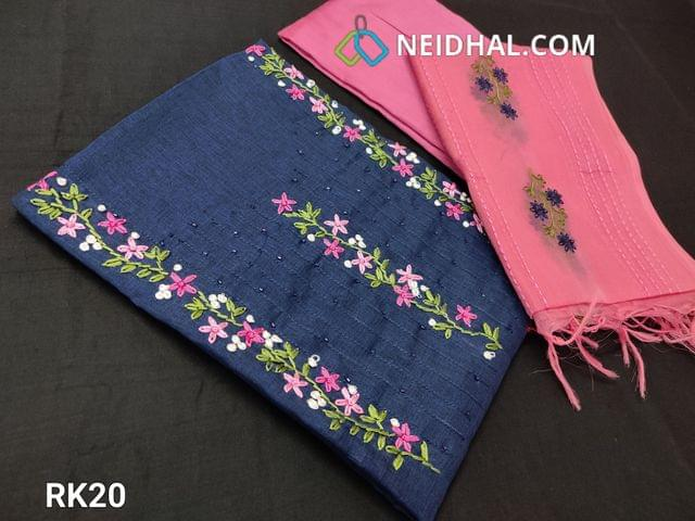 CODE RK20 :Designer Blue Semi Tussar Unstitched salwar material(coarse fabric requires lining) with Thread work on yoke, Pink Santoon or silk cotton bottom, embroidery work on organza dupatta with tapings