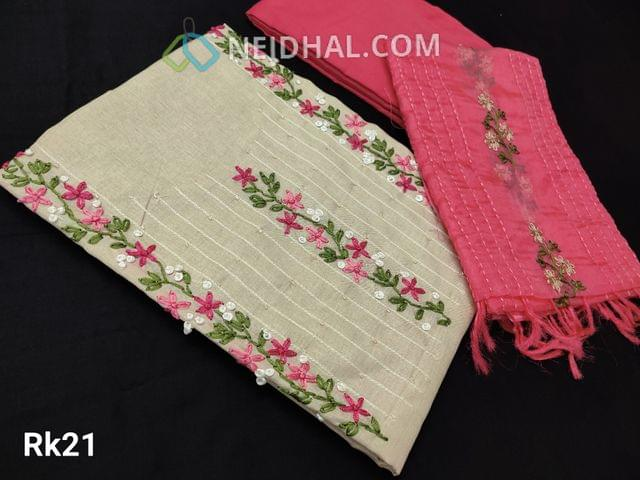 CODE RK21 :Designer Beige Semi Tussar Unstitched salwar material(coarse fabric requires lining) with Thread work on yoke, Pink Santoon or silk cotton bottom, embroidery work on organza dupatta with tapings