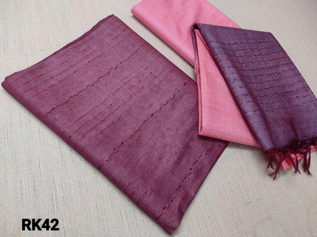 CODE RK42 : Purple Semi Jute Silk Unstitched salwar material(requires lining) with Self weaving on either side, Light pink  semi jute silk bottom, Self weaving on dual color semi jute silk dupatta with tassels.