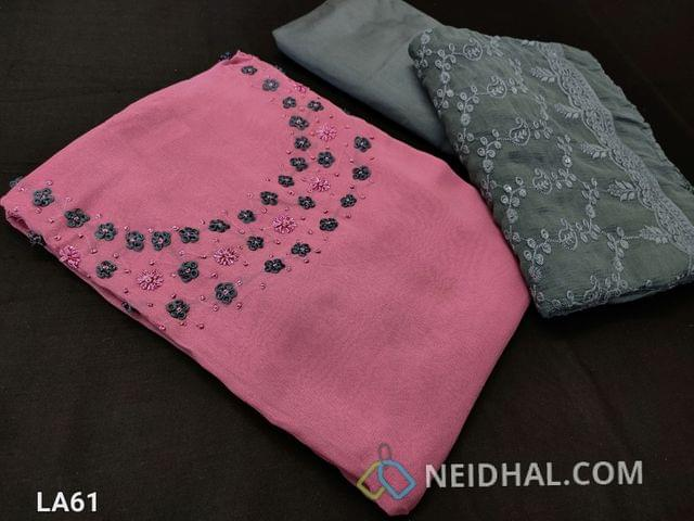CODE LA61 : Designer Dark Pink Georgette Unstitched salwar material(requires lining) with french knot and bead work on yoke, grey silk cotton botttom, heavy embroidery and sequence work on chiffon dupatta with lace tapings,