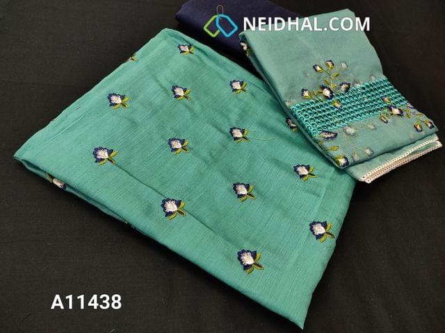 CODE  A11436 : Designer Aqua Blue Silk Cotton Unstitched Salwar material(requires lining) with embroidery work on front side, plain back side, lace work at daman patch, blue silk cotton bottom, embroidery and cut work on organza dupatta with tapings