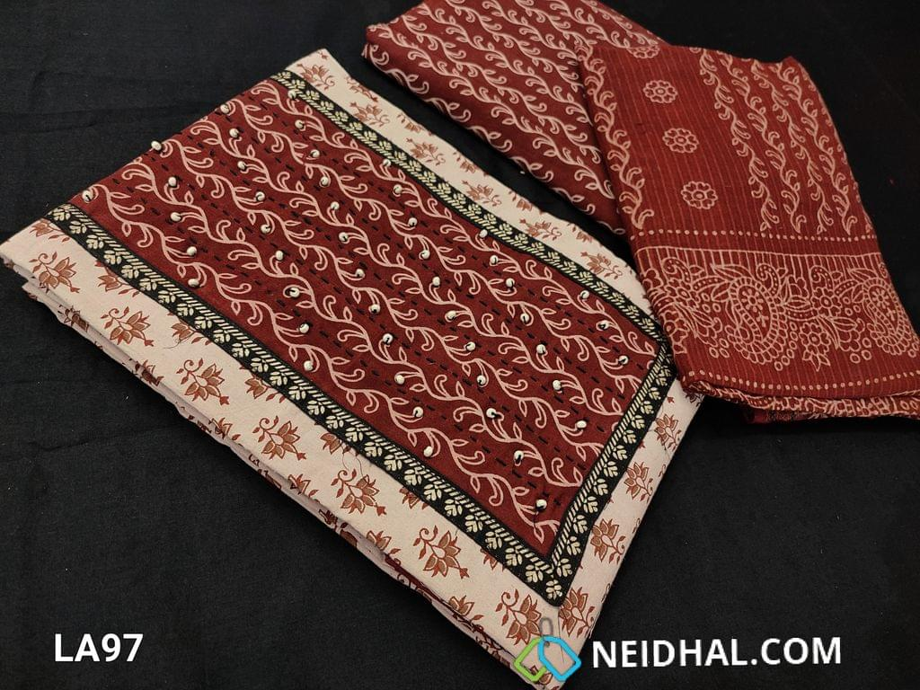 CODE LA97 : Bagru Printed Beige Pure Cotton unstitched salwar material(requires lining) with steam stitch, wodden bead work on yoke, daman patch, block printed maroon cotton bottom, blocked printed soft mul cotton dupatta wih woven borders(requires taping)