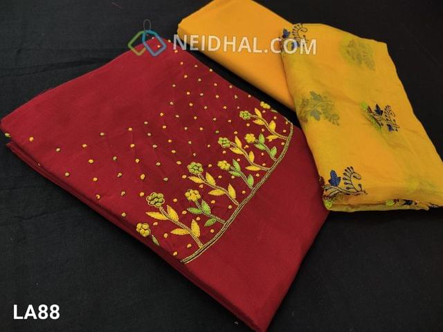 CODE LA88 :  Premium Red Dupion Silk unstitched salwar material(requires lining) with embroidery and french knot work on yoke, bright yellow cotton bottom, embroidery work on short width organza dupatta