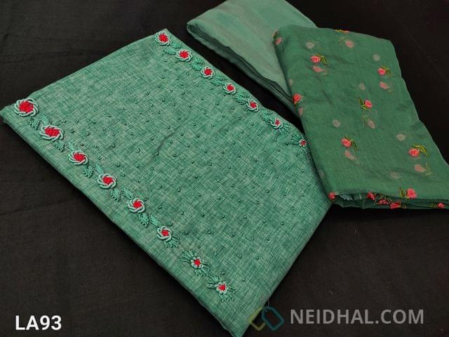 CODE LA93 : Designer Green Semi Tussar Unstitched salwar material(coarse fabric requires lining) with emboidery and french knot work on yoke, santoon bottom, embroidery work on organza dupatta with tapings