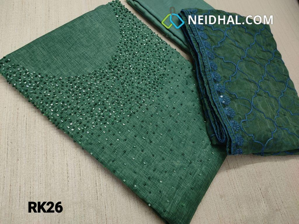 CODE RK26 :Designer Green Semi Tussar Unstitched salwar material(coarse fabric requires lining) with cut bead work on yoke, Green color Santoon or silk cotton bottom, embroidery work on organza dupatta with tapings