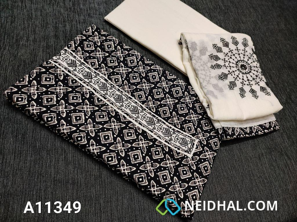 CODE A11349 : Printed Premium Soft Cotton unstitched Salwar material, with yoke patch, daman piping, Half white Cotton Bottom, Half white mul cotton dupatta with Emroidery work and taping