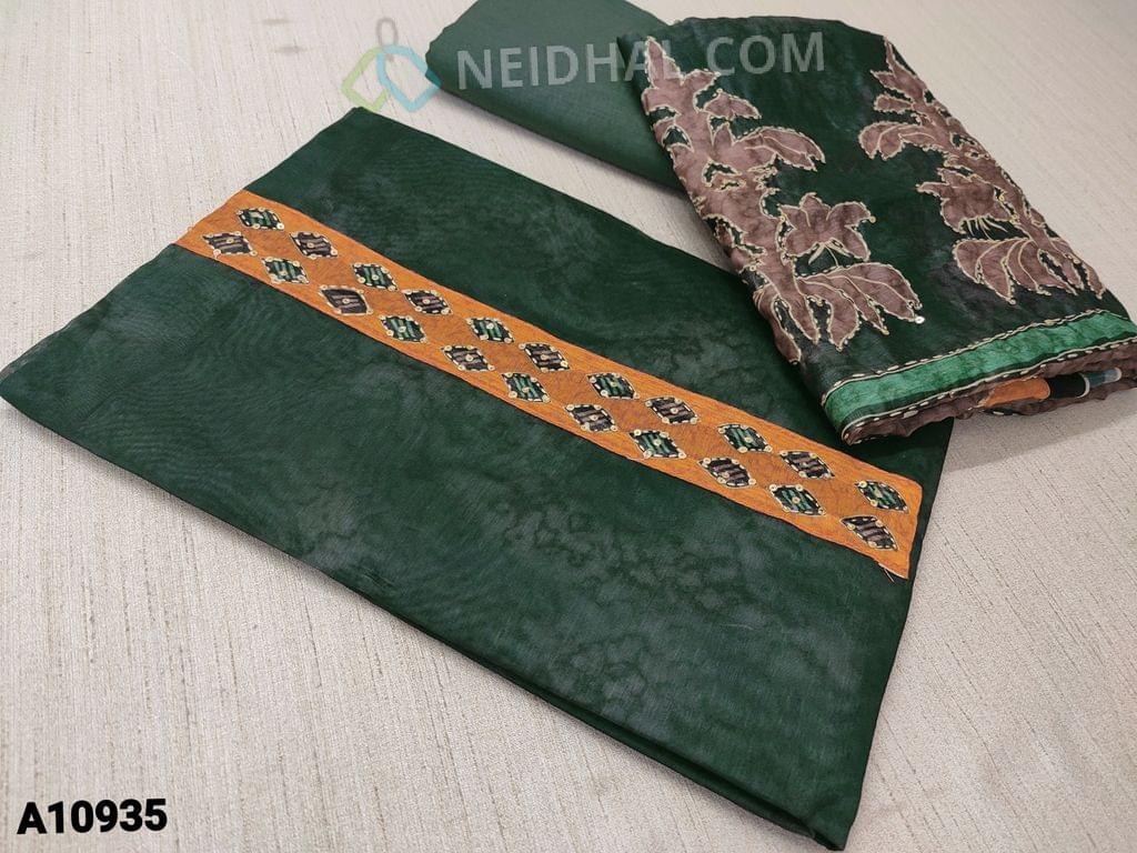 CODE A10935 :  Digital Printed Mossy Green Silk Cotton unstitched Salwar material(requires lining) with kantha stitch and sequence  work on yoke,  mossy green cotton bottom, Digital printed kantha stitch work on  silk cotton dupatta with tapings.