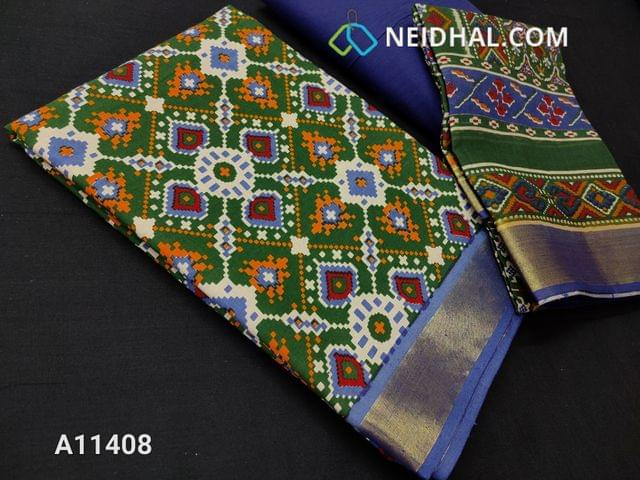 CODE A11408 : Patola Printed Green Cotton unstitched salwar material(requires lining), zari borders at daman, blue cotton bottom, printed mul cotton dupatta.