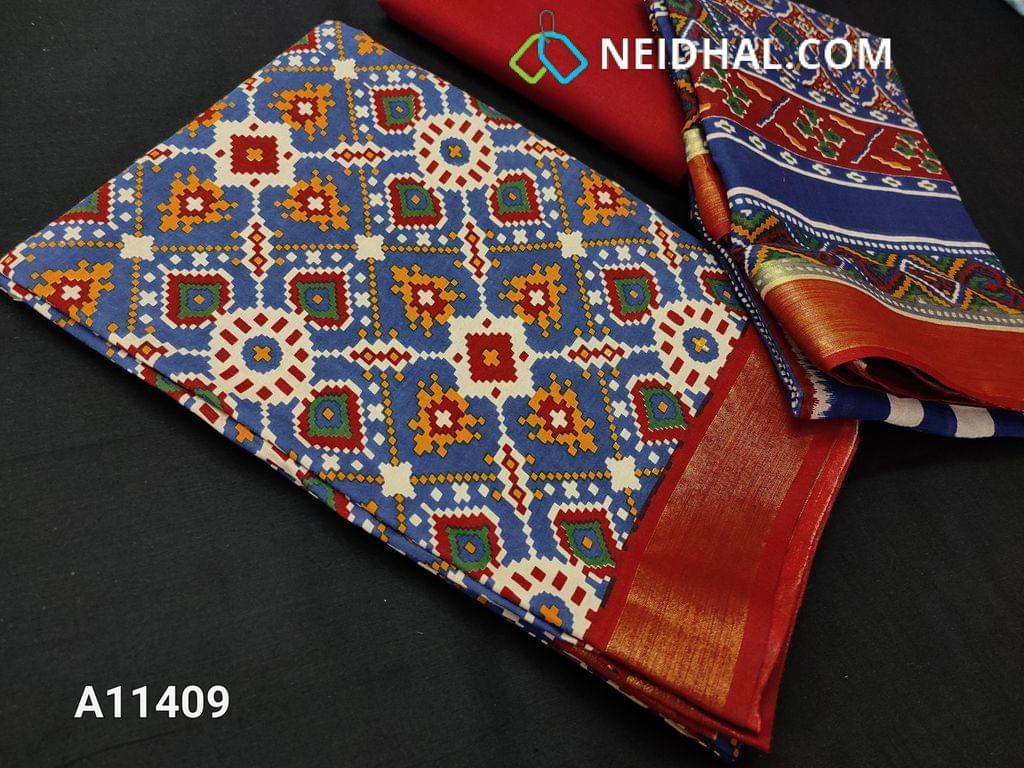 CODE A11409 : Patola Printed Blue Cotton unstitched salwar material(requires lining), zari borders at daman, maroon cotton bottom, printed mul cotton dupatta.