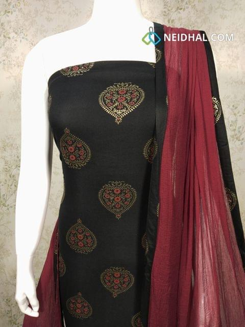 CODE : R16 Printed Black Rayon unstitched salwar material with golden prints, maroon Cotton bottom, maroon chiffon dupatta with taping