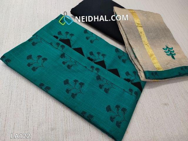 CODE LA122 : Printed Dark Turquoise Blue Slub Cotton unstitched salwar material(requires lining) with potli buttons on yoke, black cotton bottom, embroidery work on silk cotton dupata with tapings and tassels.