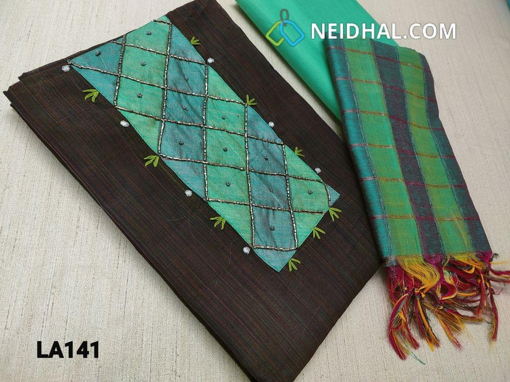CODE LA141 : Dark Brown Silk Cotton unstitched salwar material(requires lining) with cut bead and thread work on yoke, green cotton bottom, checked green silk cotton dupatta with tassels