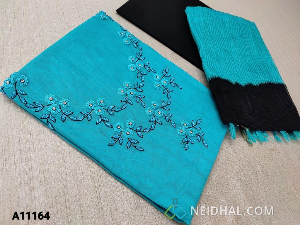 CODE A11164 : Blue Silk Cotton unstitched Salwar material(requires lining) with bead, thread and stone work on yoke, black cotton bottom, dual color silk cotton dupatta with tassels.