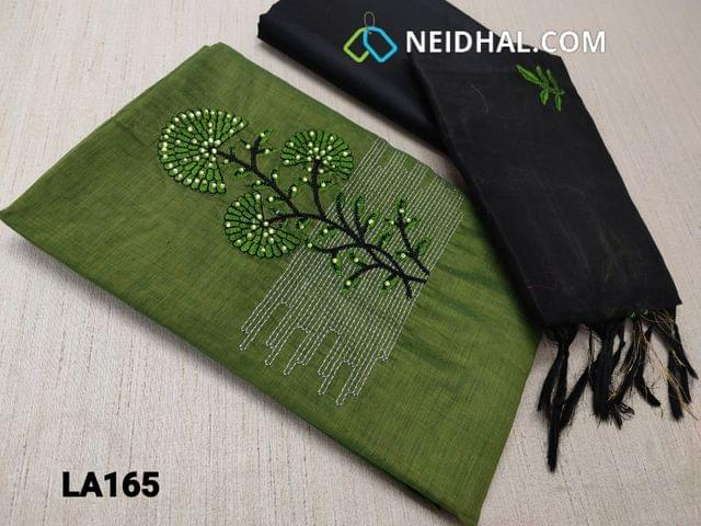CODE LA165 :  Mossy Green Silk Cotton unstitched Salwar material(requires lining) with mini stone and embroidery work on yoke, black cotton bottom, embroidery work on silk cotton dupatta(requires taping)