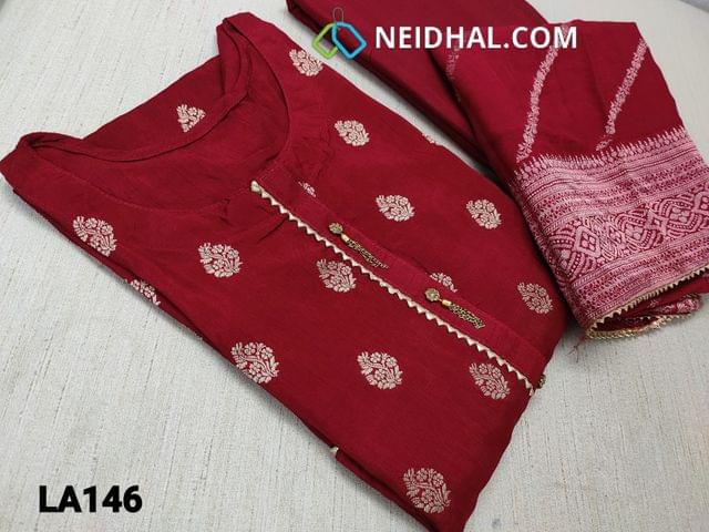 CODE LA146 : Designer Benaras weaving Maroonish Red Soft Silk Semi stitched Salwar material(requires lining) with fancy buttons on yoke, heavy benaras woven at daman, santoon bottom, benaras weaving silk cotton dupatta with tapings