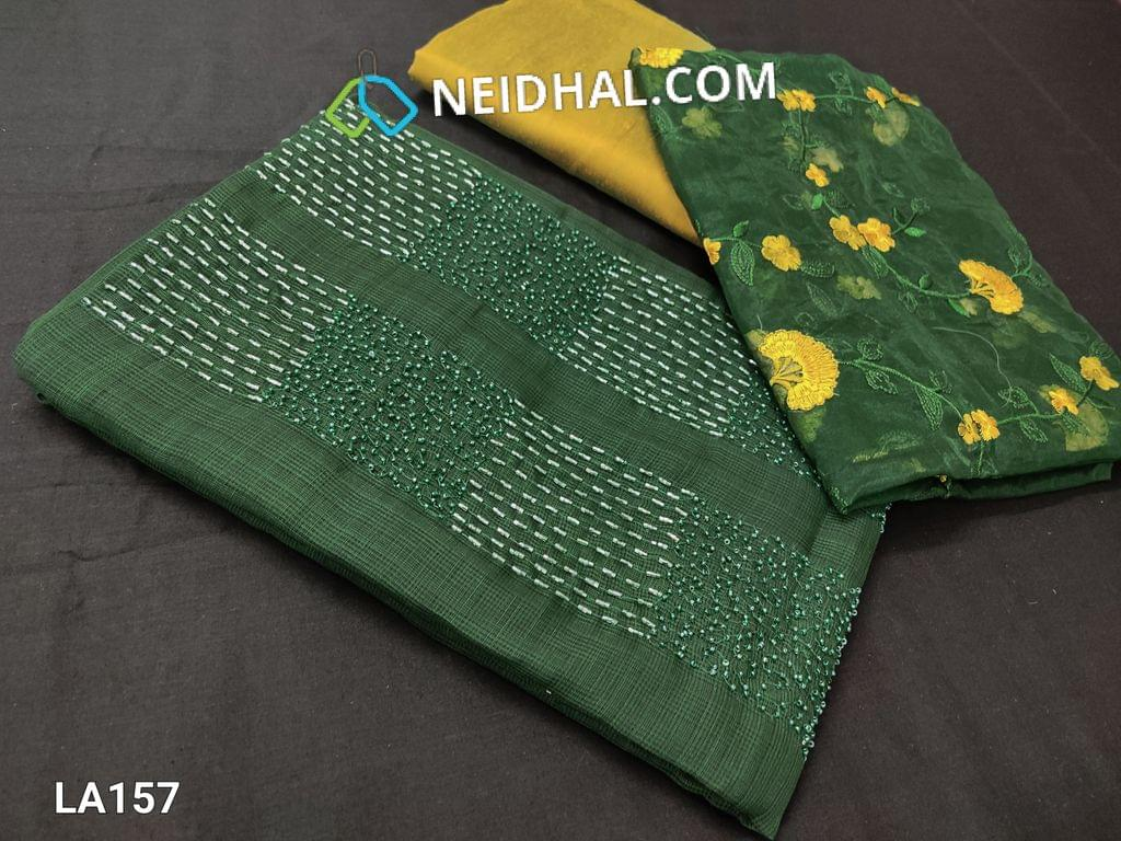 CODE LA157 : Designer Green Jaquard Silk Cotton unstitched Salwar material(requires lining) with bead and cut bead work on yoke, mehandi green silk cotton bottom, embroidery work on organza dupatta with tapings